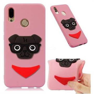 Glasses Dog Soft 3D Silicone Case for Huawei Mate 20 Lite - Pink