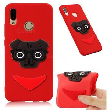 Glasses Dog Soft 3D Silicone Case for Huawei Mate 20 Lite - Red