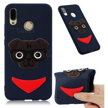 Glasses Dog Soft 3D Silicone Case for Huawei Mate 20 Lite - Navy
