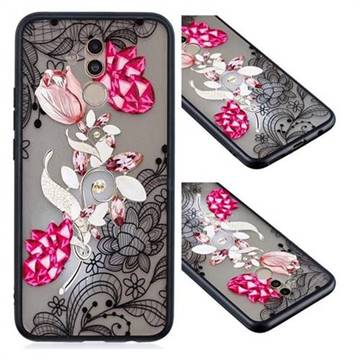 Tulip Lace Diamond Flower Soft TPU Back Cover for Huawei Mate 20 Lite