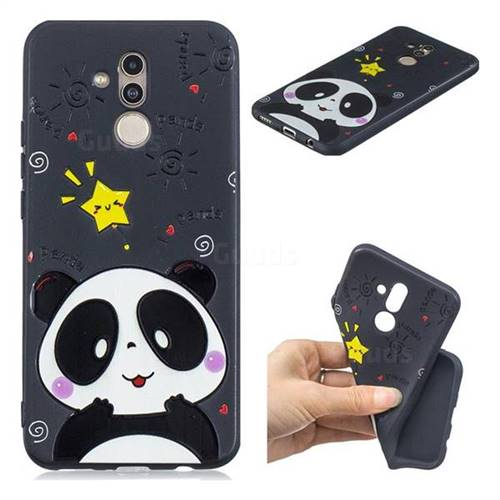 Cute Bear 3D Embossed Relief Black TPU Cell Phone Back Cover for Huawei Mate 20 Lite