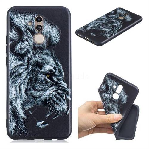 Lion 3D Embossed Relief Black TPU Cell Phone Back Cover for Huawei Mate 20 Lite