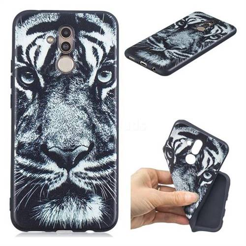 White Tiger 3D Embossed Relief Black TPU Cell Phone Back Cover for Huawei Mate 20 Lite