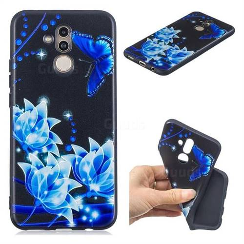 Blue Butterfly 3D Embossed Relief Black TPU Cell Phone Back Cover for Huawei Mate 20 Lite