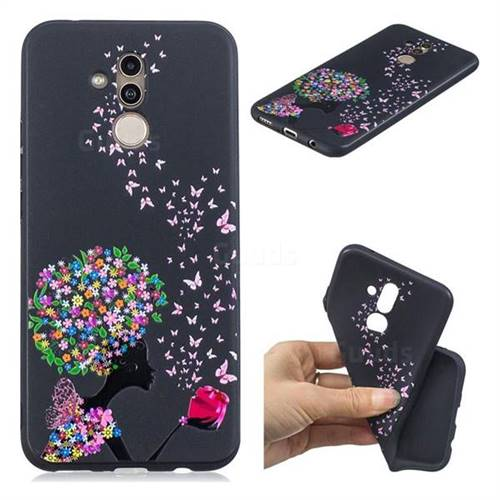 Corolla Girl 3D Embossed Relief Black TPU Cell Phone Back Cover for Huawei Mate 20 Lite