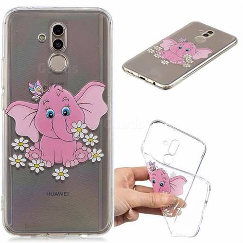Tiny Pink Elephant Clear Varnish Soft Phone Back Cover for Huawei Mate 20 Lite