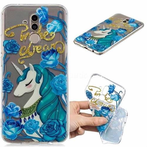 Blue Flower Unicorn Clear Varnish Soft Phone Back Cover for Huawei Mate 20 Lite
