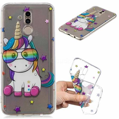 Glasses Unicorn Clear Varnish Soft Phone Back Cover for Huawei Mate 20 Lite