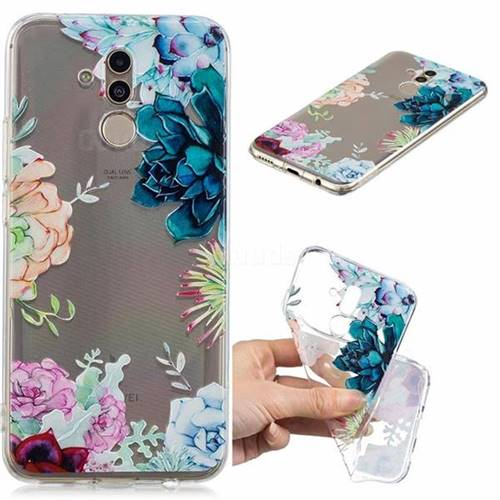 Gem Flower Clear Varnish Soft Phone Back Cover for Huawei Mate 20 Lite