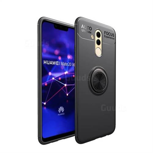 Auto Focus Invisible Ring Holder Soft Phone Case for Huawei Mate 20 Lite - Black