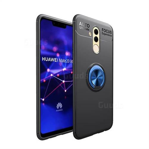 Auto Focus Invisible Ring Holder Soft Phone Case for Huawei Mate 20 Lite - Black Blue