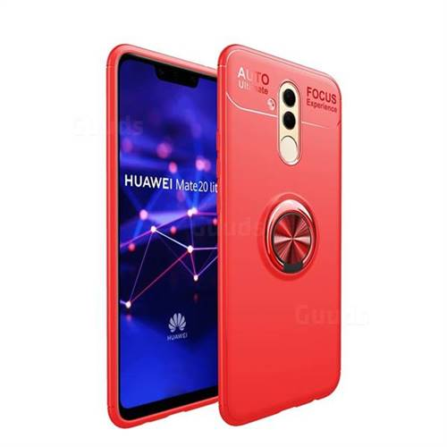 Auto Focus Invisible Ring Holder Soft Phone Case for Huawei Mate 20 Lite - Red
