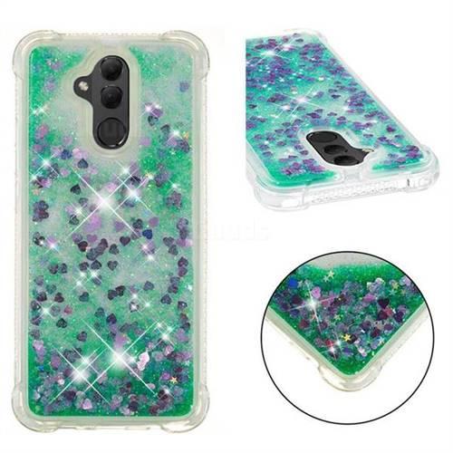 Dynamic Liquid Glitter Sand Quicksand TPU Case for Huawei Mate 20 Lite - Green Love Heart