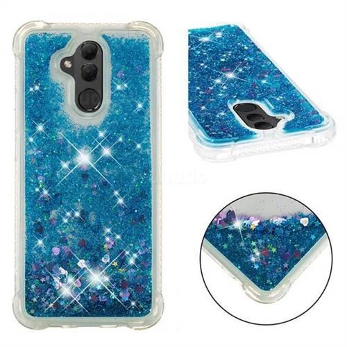 Dynamic Liquid Glitter Sand Quicksand TPU Case for Huawei Mate 20 Lite - Blue Love Heart