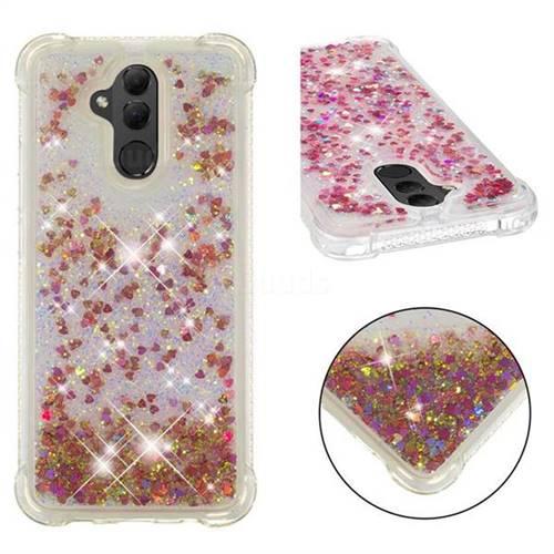 Dynamic Liquid Glitter Sand Quicksand TPU Case for Huawei Mate 20 Lite - Rose Gold Love Heart