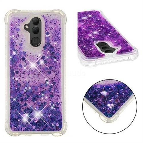 Dynamic Liquid Glitter Sand Quicksand Star TPU Case for Huawei Mate 20 Lite - Purple