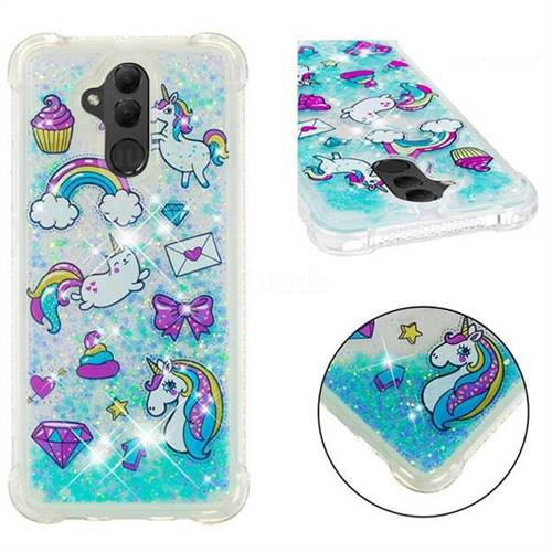 Fashion Unicorn Dynamic Liquid Glitter Sand Quicksand Star TPU Case for Huawei Mate 20 Lite