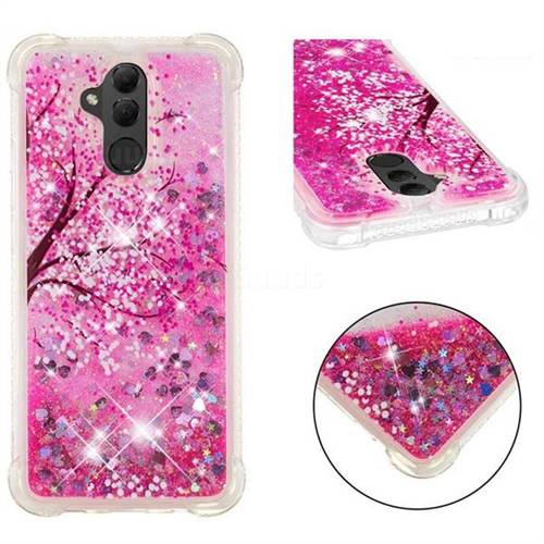 Pink Cherry Blossom Dynamic Liquid Glitter Sand Quicksand Star TPU Case for Huawei Mate 20 Lite