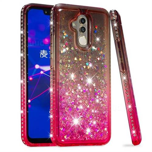 Diamond Frame Liquid Glitter Quicksand Sequins Phone Case for Huawei Mate 20 Lite - Gray Pink