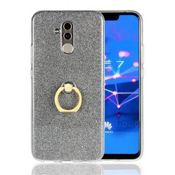 Luxury Soft TPU Glitter Back Ring Cover with 360 Rotate Finger Holder Buckle for Huawei Mate 20 Lite - Black