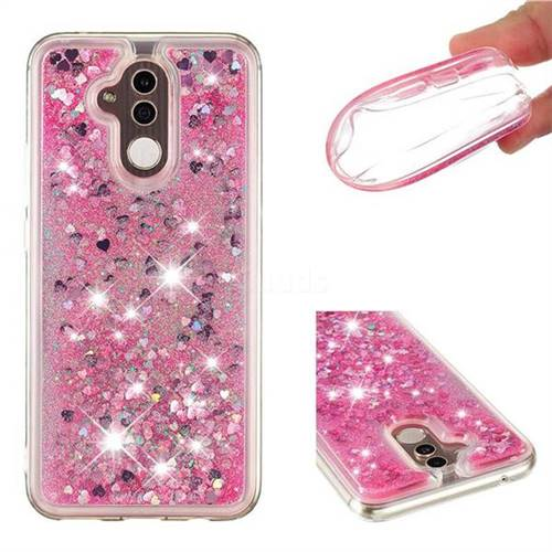 Dynamic Liquid Glitter Quicksand Sequins TPU Phone Case for Huawei Mate 20 Lite - Rose