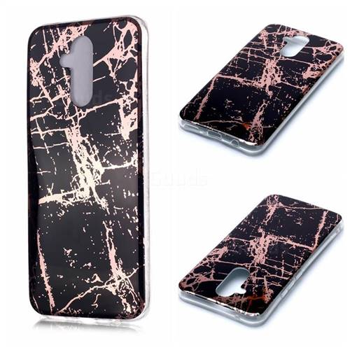 Black Galvanized Rose Gold Marble Phone Back Cover for Huawei Mate 20 Lite