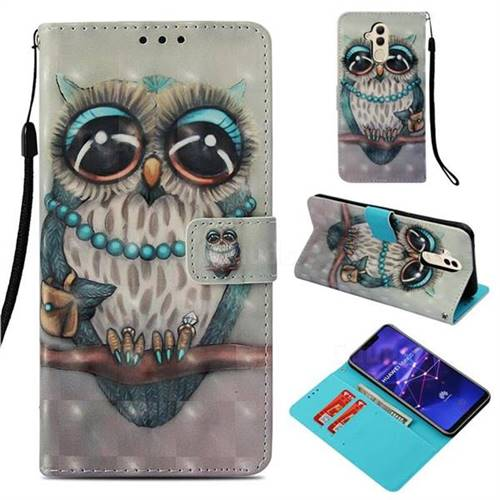 Sweet Gray Owl 3D Painted Leather Wallet Case for Huawei Mate 20 Lite