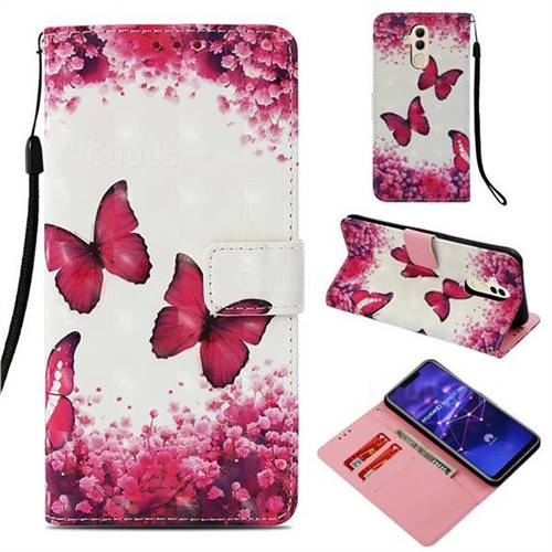 Rose Butterfly 3D Painted Leather Wallet Case for Huawei Mate 20 Lite
