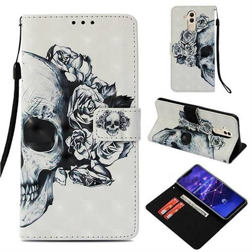 Skull Flower 3D Painted Leather Wallet Case for Huawei Mate 20 Lite