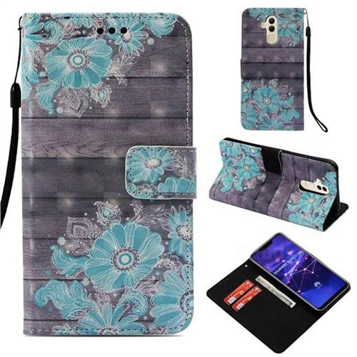 Blue Flower 3D Painted Leather Wallet Case for Huawei Mate 20 Lite