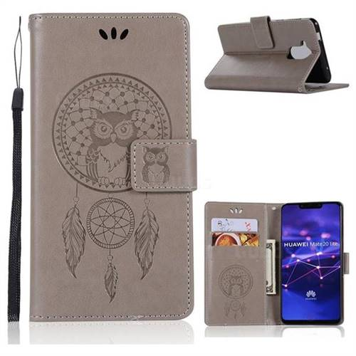 Intricate Embossing Owl Campanula Leather Wallet Case for Huawei Mate 20 Lite - Grey