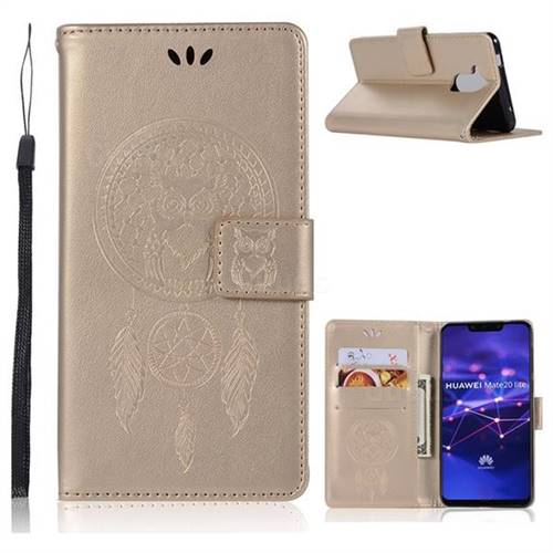 Intricate Embossing Owl Campanula Leather Wallet Case for Huawei Mate 20 Lite - Champagne