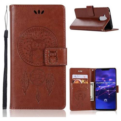 Intricate Embossing Owl Campanula Leather Wallet Case for Huawei Mate 20 Lite - Brown