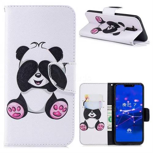 Lovely Panda Leather Wallet Case for Huawei Mate 20 Lite