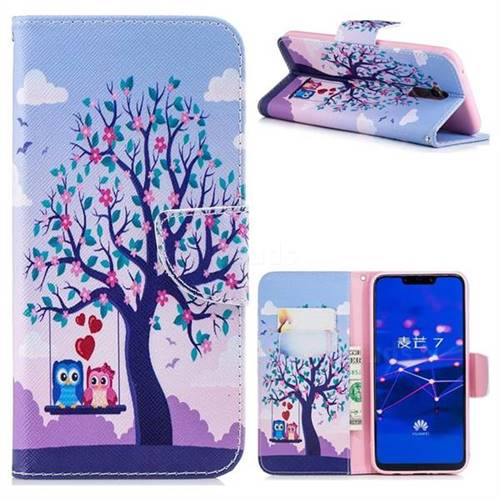 Tree and Owls Leather Wallet Case for Huawei Mate 20 Lite