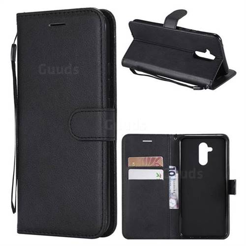 Retro Greek Classic Smooth PU Leather Wallet Phone Case for Huawei Mate 20 Lite - Black