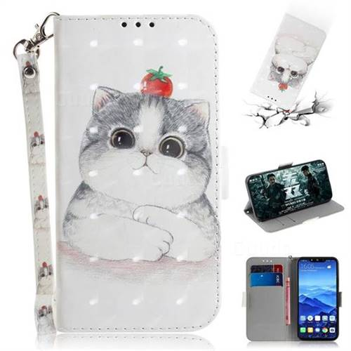 Cute Tomato Cat 3D Painted Leather Wallet Phone Case for Huawei Mate 20 Lite