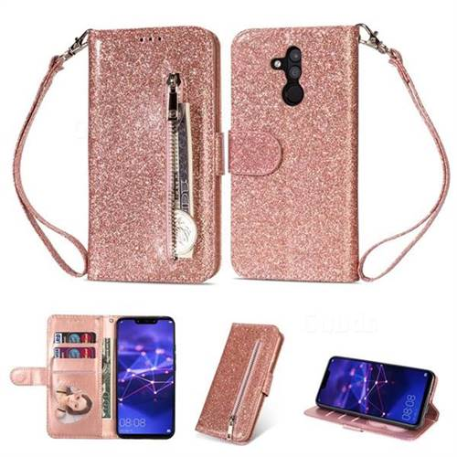 detailed look 282e3 e4f74 Glitter Shine Leather Zipper Wallet Phone Case for Huawei Mate 20 Lite -  Pink