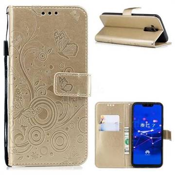 Intricate Embossing Butterfly Circle Leather Wallet Case for Huawei Mate 20 Lite - Champagne