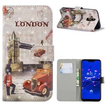 Retro London 3D Painted Leather Phone Wallet Case for Huawei Mate 20 Lite