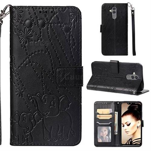 Embossing Fireworks Elephant Leather Wallet Case for Huawei Mate 20 Lite - Black