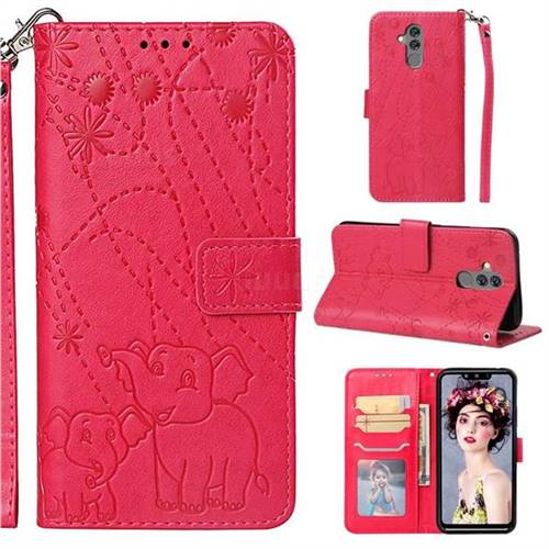 Embossing Fireworks Elephant Leather Wallet Case for Huawei Mate 20 Lite - Red