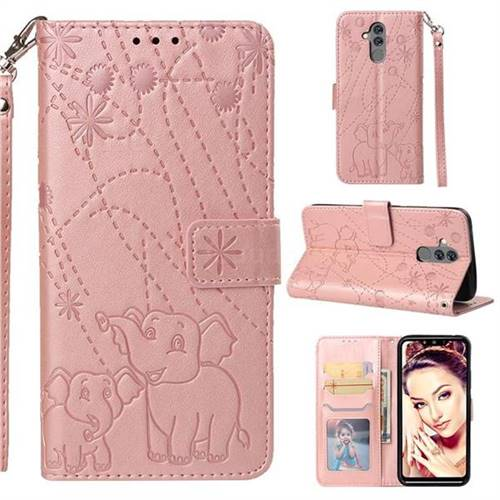 Embossing Fireworks Elephant Leather Wallet Case for Huawei Mate 20 Lite - Rose Gold