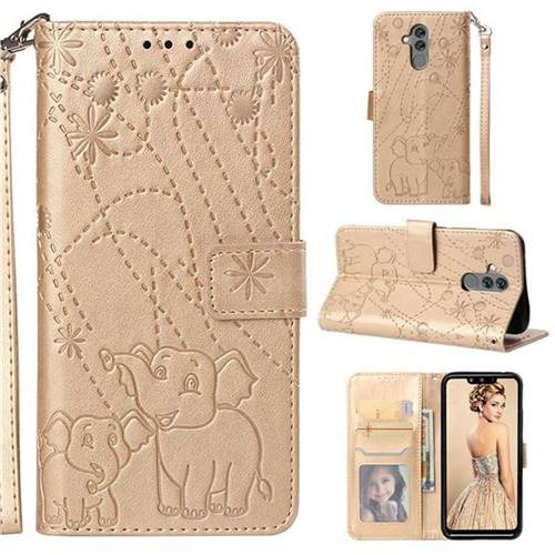 Embossing Fireworks Elephant Leather Wallet Case for Huawei Mate 20 Lite - Golden