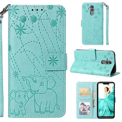 Embossing Fireworks Elephant Leather Wallet Case for Huawei Mate 20 Lite - Green