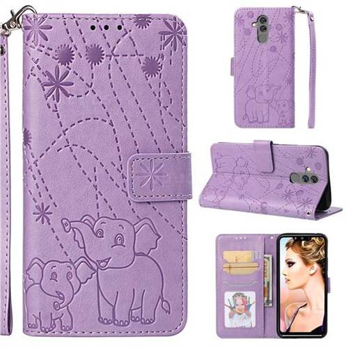Embossing Fireworks Elephant Leather Wallet Case for Huawei Mate 20 Lite - Purple