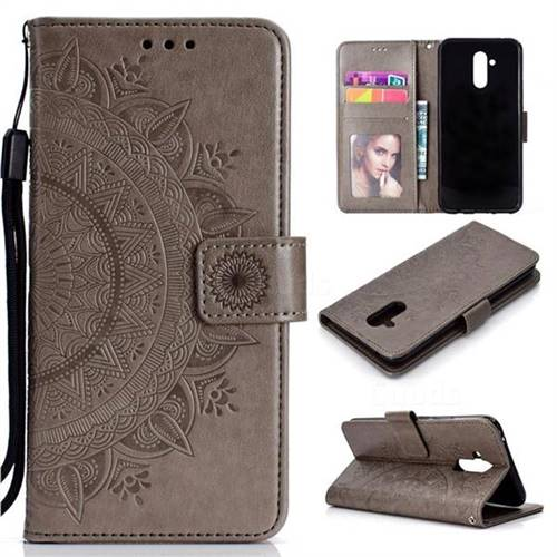 Intricate Embossing Datura Leather Wallet Case for Huawei Mate 20 Lite - Gray