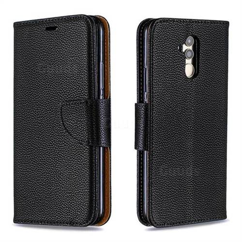 Classic Luxury Litchi Leather Phone Wallet Case for Huawei Mate 20 Lite - Black