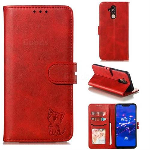 Embossing Happy Cat Leather Wallet Case for Huawei Mate 20 Lite - Red