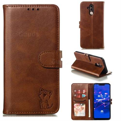 Embossing Happy Cat Leather Wallet Case for Huawei Mate 20 Lite - Brown